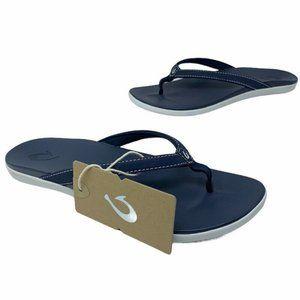 Olukai Womens Ho'opio Thong Flip Flop Sandals Blue